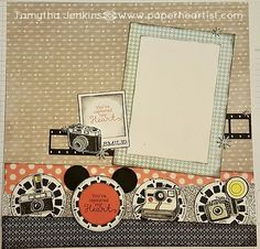 """Layout by Tamytha Jenkins of paperheartist.com. Using CTMH SOTM """"Life in Pictures"""". Inspired by Nancy Damiano's Hollywood Studios layout."""
