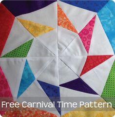 Carnival Time quilt block tutorial - free PDF pattern by 627 Handworks