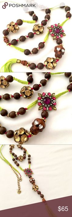 """Betsey J ☀️St Bart's☀️ Skull, Tassel Long Necklace ☀️Just in time for summer & warm weather vacations!☀️Boho style from a popular, retired collection. Neon green cord, faux wood, crystals, gold tone beads and amber, hit pink & purple colors. Necklace is abt 33"""" long with 6.5"""" charm/tassel drop; 3"""" extender. Never worn, new condition., no tag. Very HTF! Betsey Johnson Jewelry Necklaces"""