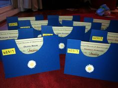 Daisy scout investiture certificates. Made to resemble their smocks.