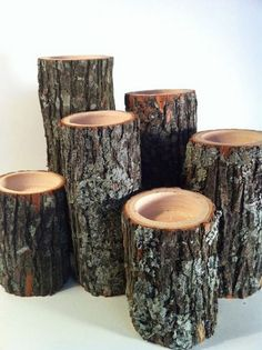 Tree Branch Candle Holders Set of Rustic Wood Candle Holders, Tree Slice… Rustic Candle Holders, Candle Holder Set, Candle Set, Pot Holders, Log Decor, Rustic Decor, Diy Candles, Citronella Candles, Beeswax Candles