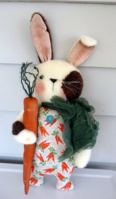 Primitive Bunny Rabbit Tuck Bowl filler ornie Prim by ahlcoopedup, $26.95