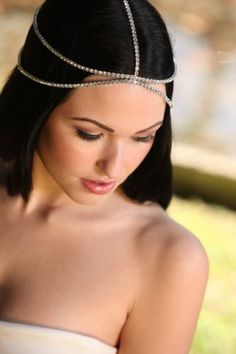 Bridal Hair Goddess Vintage Jeweled Headpiece Forehead Hobo Bohemian Headdress