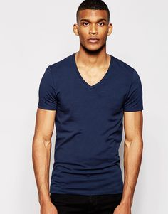 """T-shirt by ASOS Soft-touch jersey Added stretch for comfort V-neck Slim fit - cut closely to the body Machine wash 96% Cotton, 4% Elastane Our model wears a size Medium and is 188cm/6'2"""" tall Shop other colours of ASOS basic V-neck t-shirts"""