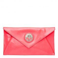 Mimco 'Molten' envelope clutch in neon pink.