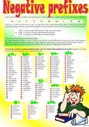 English worksheet: WORD FORMATION: NEGATIVE PREFIXES (Part I)