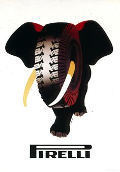 Armando Testa, Elefante Pirelli, 1954 Retro Advertising, Retro Ads, Vintage Advertisements, Vintage Ads, Vintage Posters, Italian Art, Vintage Italian, Appropriation Art, Elephant Pictures