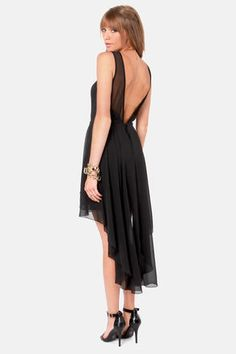 Check it out from Lulus.com! Your wardrobe has earned its wings with the Ladakh Urban Angel Black Backless Dress! A ribbed, heavyweight knit forms a curve-hugging sheath shape, with a darted, sweetheart bodice that turns to sheer mesh for sexy shoulder straps that dip into a deep V, backless look. A layer of sheer Georgette forms a gorgeous overlay that begins at the waist, and flows into a captivating high-low skirt that splits down the center in back. Invisible back zipper/hook closure…