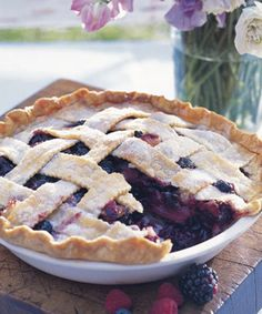 This delicious dish combines blueberries with apples, raspberries, blackberries, and strawberries for a fruit-filled dessert. Recipes: Deep-Dish Bumbleberry Pie   - CountryLiving.com