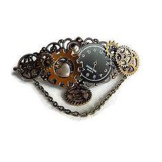 Barrette cheveux steampunk bronze et cuivre cadran véritable