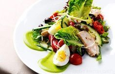 Salade Niçoise (tuna tinned in olive oil, salted anchovies, black olives, eggs, salad leaves, baby gem lettuce, spring onions, radishes, cucumber, beef tomatoes, celery stick, olive oil, balsamic vinegar, cherry tomatoes, garlic, salt, black pepper)