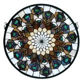 Found it at Wayfair - Deco Tiffany Nouveau Peacock Feather Medallion Stained Glass Window