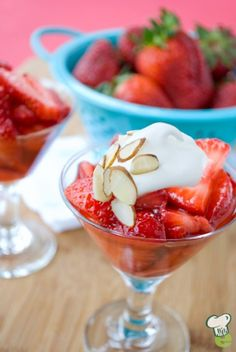 Strawberries and Cream Recipe : Make this low-calorie fruit dessert for a spring brunch or any time of the year. This easy fruit dessert is as pretty as it is delicious.