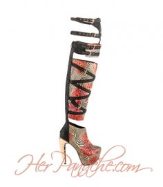 Shoe-tensity: Red Coral Gold Black Animal Print Knee High Multi Strap Buckle High Heel Platform Boots