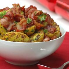Sauteed baby potatoes with bacon