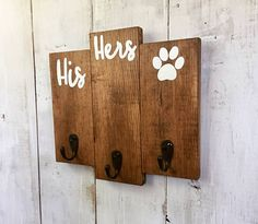 His Hers & Dog Key Holder / Entryway Key Hooks / Leash and