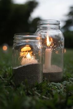 Inexpensive outdoor candle idea. Totally doing this next time we go camping!