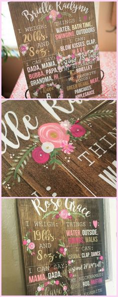 f2bd03aa7fa5 Beautiful flower hand painted first birthday sign. Rustic one year stat  sign for a birthday