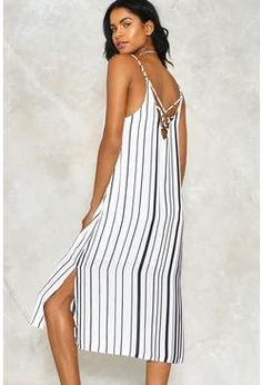 193ddd6b936 Right Blue Backless Stripe Pattern V-neck Sleeveless Mini Dress - US ...