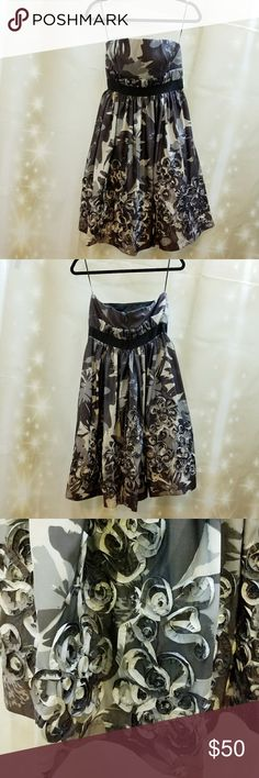 Jessica Simpson dress worn once Black, grey and white strapless dress with 3d flowers Jessica Simpson Dresses