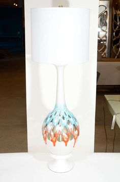 Monumental Pierced White Ceramic Lamps with Drip Glaze image 2