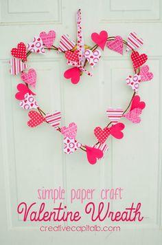 Simple paper craft Valentine wreath tutorial