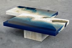 wood table with epoxy glass waterfall Resin Table Top, Epoxy Resin Table, Slab Table, Wood Resin, Wood Table, Resin Furniture, Unique Furniture, Glass Waterfall, Creators Project