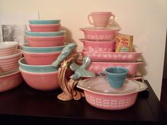 Pink and Turquoise Pyrex!