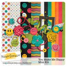 You Make Me Happy Mini by Nibbles Skribbles. $1.99 Super cute and bright kit.