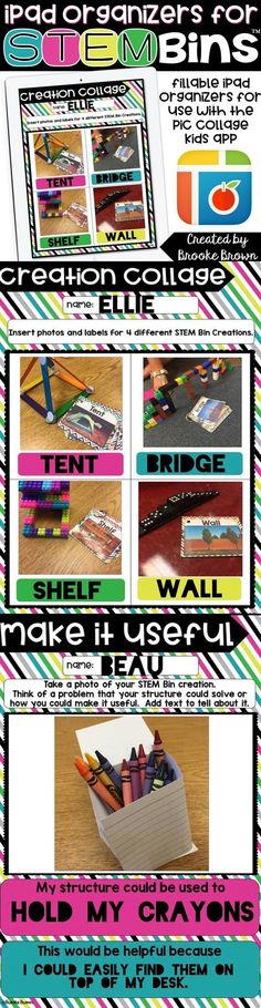 These digital organizers can easily be airdropped to student iPads and used in within the FREE Pic Collage Kids app. Students can add photos of their STEM Bin creations, labels, sentences, stickers, and more!