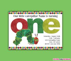 Hungry Caterpillar Birthday Party Invitation  by PupiloftheWorld, $8.00