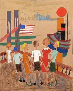 Children Playing at Dockside, ca.1939-1942, William H. Johnson, tempera and pen and ink with pencil on paper, 15 3/8 x 12 3/8 in. (38.9 x 31.3 cm), Smithsonian American Art Museum, Gift of the Harmon Foundation, 1967.59.146