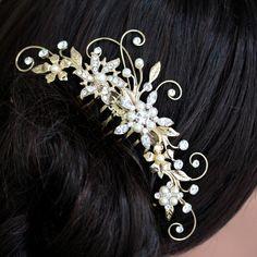 Gold Wedding Hair Comb,  Rhinestone Flowers and Leaves, Vintage Bridal Comb, Bridal hair Accessories, AMBRIA via Etsy