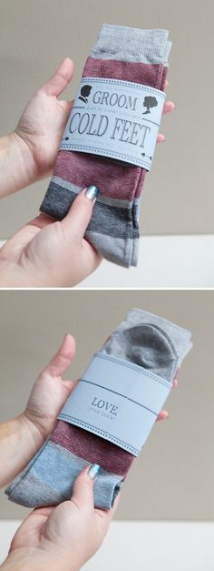 Wedding #DIY ~ a gift for your groom... cold feet socks, so easy!