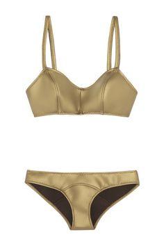 Lisa Marie Fernandez|The Genevieve metallic rubber neoprene bikini|NET-A-PORTER.COM