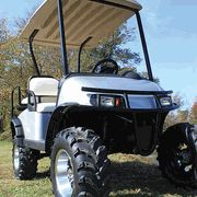 Protect your golf cart and passengers with a complete set of rugged, easy to install fender flares. Textured plastic fender flares attach to body and protect against mud, rocks and other debris thrown up by oversized tires. Available for E-Z-Go, Club Car and Yamaha #golfcarts.