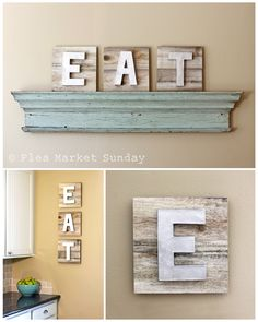 EAT Sign on Reclaimed Wood with Dimensional Painted Metallic Letters. $75.00, via Etsy. (L  B)