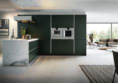 Modern-German-Kitchen - NX500 - Jaguar Green Satin.  #germankitchens #kitchendesign #next125 #luxurykitchens