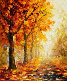 """Symbole des Herbstes – Spachtel Orange Herbst Landschaftsölgemälde auf Leinwand von Leonid Afremov. Größe: 24 """"X 30"""" Zoll (60 cm x 75 cm) von AfremovArtStudio auf Etsy https://www.etsy.com/de/listing/209745336/symbole-des-herbstes-spachtel-orange"""