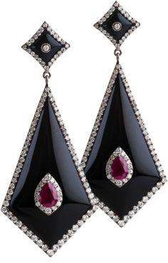 BOCHIC Onyx, Diamond and Sapphire Dangles