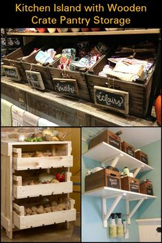 Create Extra Storage And Organize Your Kitchen by Turning Timber Crates Into Mobile Pantry Storage