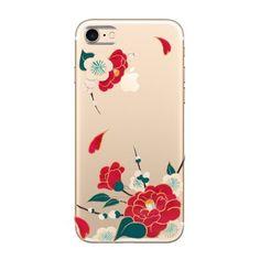 あんみつ娘♡スマホケース♡着物に♡椿と梅 (背景透明バージョン)iPhone7 Plus   和柄 和小物 手描き 着物 - あんみつゆっか