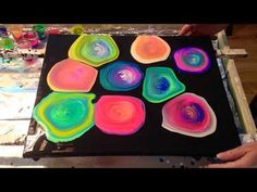 #32 Brighten your day with a colourful swirl Acrylic pouring - YouTube