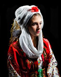 Europe | Portrait of a Greek bride wearing a traditional weddingdress and bridal…