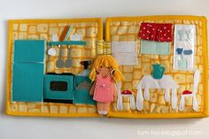Dollhouse book, quiet book  busy book, fabric book, felt book, felt paper doll, кукольный домик, развивающая книжка, кухня, столовая, kitchen, dining room