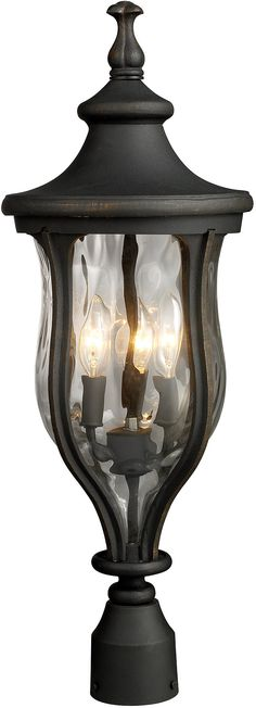 """0-020793>26""""""""h Grand Aisle 3-Light Outdoor Post Mount Weathered Charcoal with Transparent Glass"""