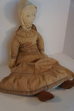 "26"" pencil face cloth doll  brown calico dress C. 1890"