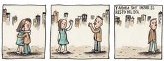 """And now I'll be odd for the rest of the day"" (Liniers) Past Love, This Is Love, Good Notes, Humor Grafico, Comic Books Art, Make Me Happy, Comic Strips, Cute Pictures, Literature"