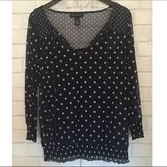 🆑 { LOFT} Navy Blouse with White Polka Dots ✨LOFT Navy Blouse with White Polka Dots✨Comes with Cami under and attached to blouse ✨ 3/4 Length Sleeve ✨ Perfect Condition LOFT Tops Blouses
