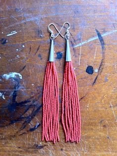 Hand Beaded Fringe Earrings red seed beads and by honeyfoxjewelry - StyleSays